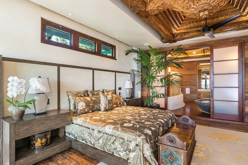 approccio straordinariamente opulenta alla decorazione con il legno in camera da letto bianco!