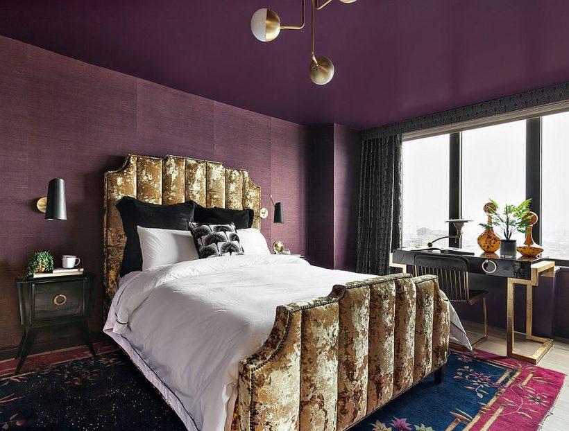Вражаючі спальню, де стеля також фіолетовий!