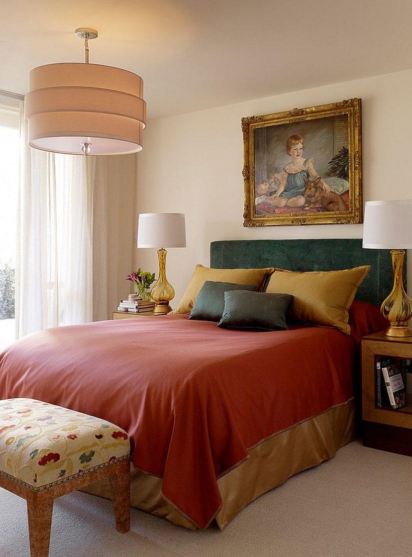 Utilizzare biancheria da letto per tonalità gioiello usciere in camera da letto in questa stagione
